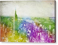 New York City Skyline Acrylic Print by Aged Pixel