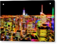 New York City Skyline Glowing Lights Acrylic Print by Dan Sproul