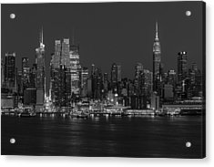 New York City Skyline In Christmas Colors Bw Acrylic Print by Susan Candelario