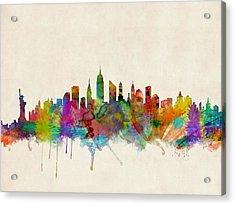 New York City Skyline Acrylic Print by Michael Tompsett