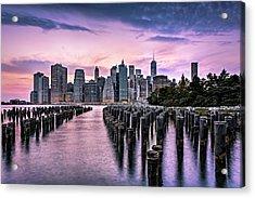 New York City Skyline Sunset Hues Acrylic Print by Susan Candelario