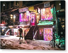 New York City - Snow And Colorful Lights At Night Acrylic Print by Vivienne Gucwa