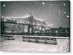 New York City - Snow At Night - Sutton Place Acrylic Print by Vivienne Gucwa