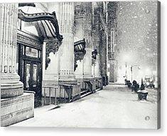 New York City - Snowy Winter Night Acrylic Print by Vivienne Gucwa