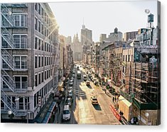 New York City - Sunset Above Chinatown Acrylic Print by Vivienne Gucwa
