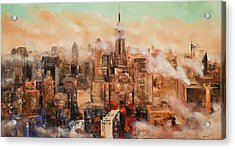 New York City Through The Clouds Acrylic Print by Manit