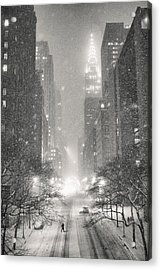 New York City - Winter Night Overlooking The Chrysler Building Acrylic Print by Vivienne Gucwa