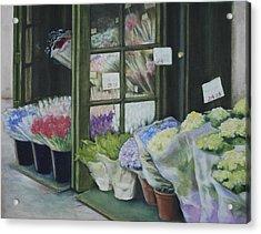 New York Flower Shop Acrylic Print by Rebecca Matthews