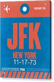 New York Luggage Tag Poster 1 Acrylic Print by Naxart Studio