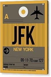 New York Luggage Tag Poster 3 Acrylic Print by Naxart Studio