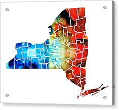 New York - Map By Sharon Cummings Acrylic Print by Sharon Cummings