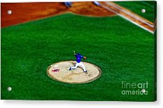New York Mets Pitcher Abstract Acrylic Print by Nishanth Gopinathan