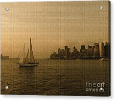 New York Sailing At Sunset Acrylic Print by Avis  Noelle