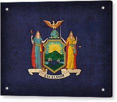 New York State Flag Art On Worn Canvas Acrylic Print by Design Turnpike