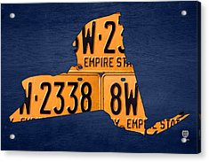 New York State License Plate Map Acrylic Print by Design Turnpike