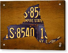 New York State License Plate Map - Empire State Orange Edition Acrylic Print by Design Turnpike