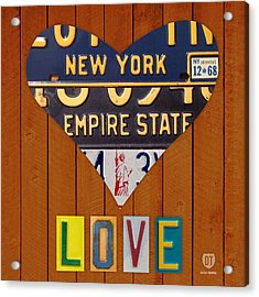 New York State Love Heart License Plate Art Series On Wood Boards Acrylic Print by Design Turnpike