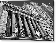 New York Stock Exchange Wall Street Nyse Bw Acrylic Print by Susan Candelario