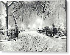 New York Winter Landscape - Madison Square Park Snow Acrylic Print by Vivienne Gucwa