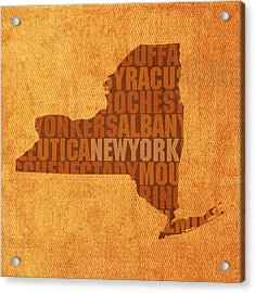 New York Word Art State Map On Canvas Acrylic Print by Design Turnpike