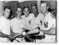 New York Yankee Sluggers Acrylic Print by Underwood Archives