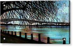Newburgh - Beacon Bridge Night Sky Acrylic Print by Janine Riley