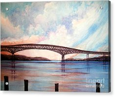 Newburgh Beacon Bridge Sky  Acrylic Print by Janine Riley