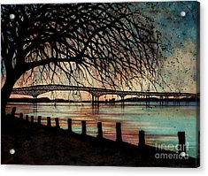 Newburgh Beacon Bridge Sunset Acrylic Print by Janine Riley