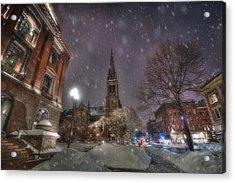 Winter On Newbury Street - Boston Acrylic Print by Joann Vitali