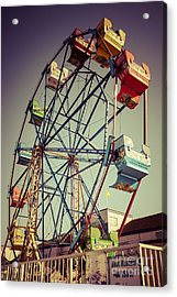 Newport Beach Ferris Wheel In Balboa Fun Zone Photo Acrylic Print by Paul Velgos