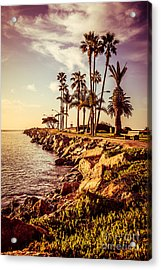Newport Beach Jetty Vintage Filter Picture Acrylic Print by Paul Velgos