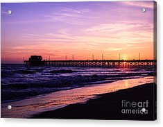 Newport Beach Pier Sunset In Orange County California Acrylic Print by Paul Velgos