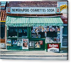 Newspaper Stand West Village Nyc Acrylic Print by Anthony Butera