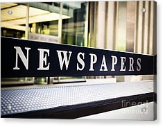 Newspapers Stand Sign In Chicago Acrylic Print by Paul Velgos