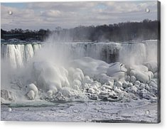 Niagara Falls Awesome Ice Buildup - American Falls New York State Usa Acrylic Print by Georgia Mizuleva