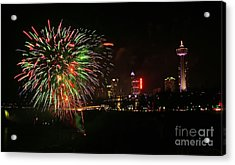 Niagara Falls Fireworks Acrylic Print by Charline Xia