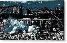 Niagara Falls Frozen At Night Acrylic Print by Miss Dawn