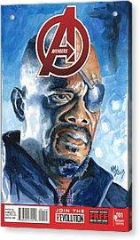 Nick Fury Acrylic Print by Ken Meyer jr