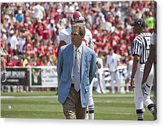 Nick Saban Head Football Coach Of Alabama Acrylic Print by Mountain Dreams