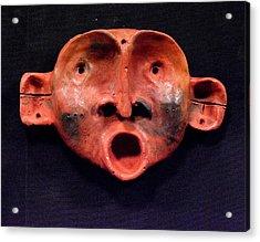 Nico Red Orange And Black Mask Acrylic Print by Mark M  Mellon