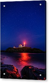 Night At Nubble Light Acrylic Print by Michael Blanchette