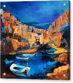Night Colors Over Riomaggiore - Cinque Terre Acrylic Print by Elise Palmigiani