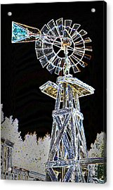 Night Drawing Windmill Antique In Color 3005.04 Acrylic Print by M K  Miller