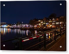 Night Lights On The Amsterdam Canals 5. Holland Acrylic Print by Jenny Rainbow