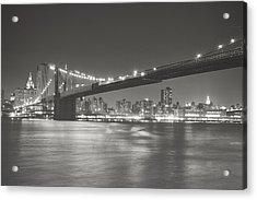 Night - New York City - Brooklyn Bridge Acrylic Print by Vivienne Gucwa