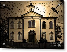 Night Of The Birds . Sepia . 7d12487 Acrylic Print by Wingsdomain Art and Photography
