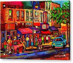 Night Riders On The Boulevard Rue St Laurent And Napoleon Deli Schwartz Montreal Midnight City Scene Acrylic Print by Carole Spandau