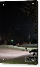 Night Skiing Acrylic Print by Lois Bryan