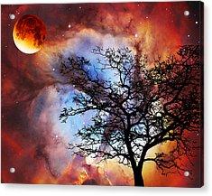 Night Sky Landscape Art By Sharon Cummings Acrylic Print by Sharon Cummings