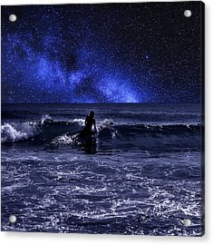 Night Surfing Acrylic Print by Laura Fasulo